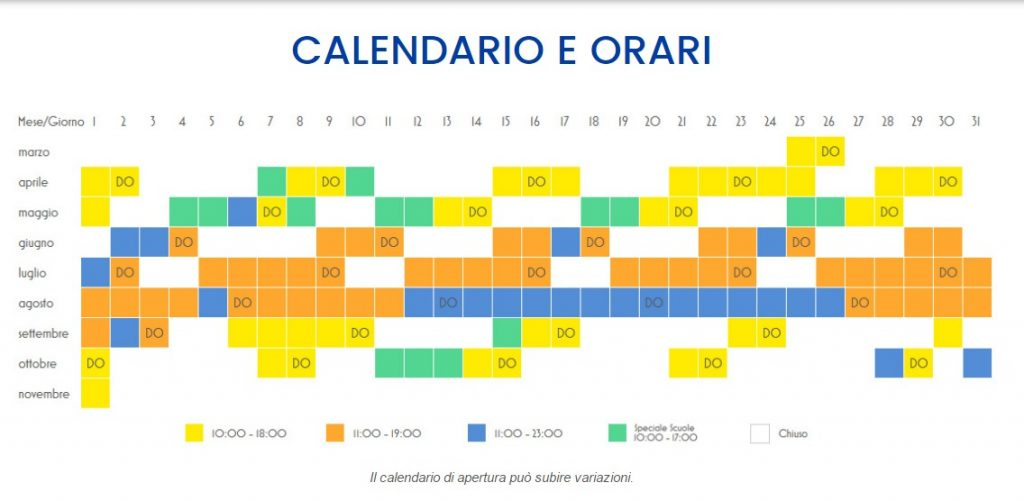 Calendario e orari Cinecitta World